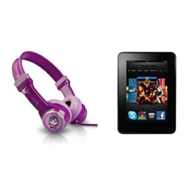 "Kindle Fire HD 7"" + JLab JBuddies Kids Volume Limiting Headphones bundle"