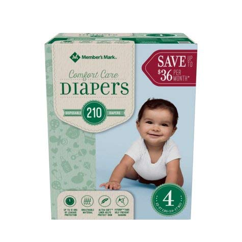 Branded Member'S Mark Comfort Care Baby Diapers - Diaper Size 4 - 210 Ct. ( Weight 22 - 37 Lbs.) (Bulk Qty at Whoesale Price, Genuine & Soft Baby diaper) by Member's Mark