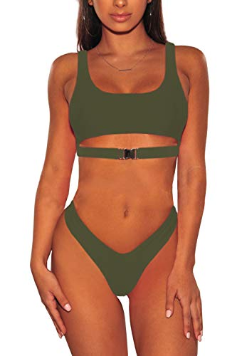 ALBIZIA Women's V-Shape High Cut Cheeky Bikini Set Swimsuit with Buckle (S, Army Green)