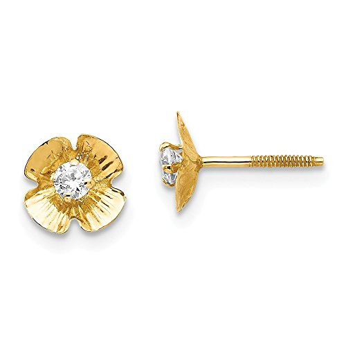 14k Yellow Gold Flower 2.5mm Cubic Zirconia Cz Post Stud Earrings Gardening Fine Jewelry Gifts For Women For Her