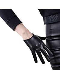 DooWay 6-inch Short Black Faux Patent Leather Touchscreen Gloves Cool Handmade Unlined Party Show Women Finger Gloves