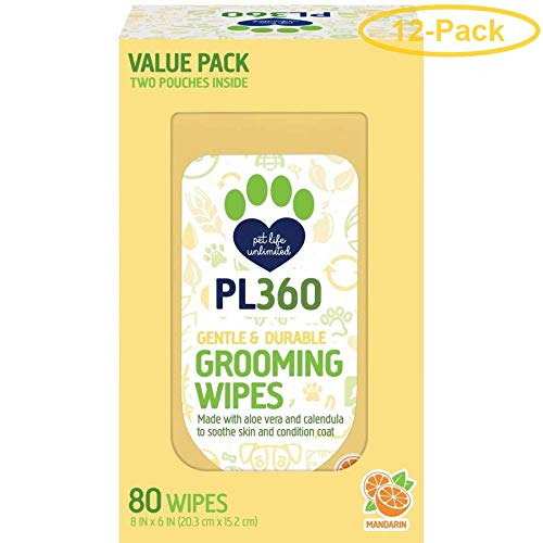 PL360 Grooming Wipes 80 Count - Pack of 12
