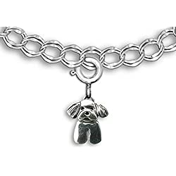 Sterling Silver Maltese Puppy Charm for Charm Bracelet by the Magic Zoo