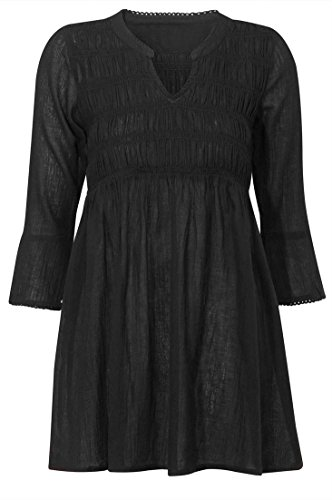 Ellos Women's Plus Size Smocked Empire Waist Tunic (Smocked Waist Tunic)