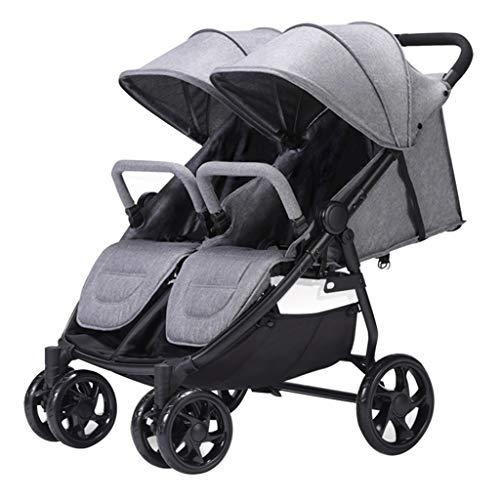Stroller Zzmop Double, Twin Tandem Baby with Adjustable Backrest, High Landscape, 5 Points Safety Belts, Foldable Design for Easy Transportation