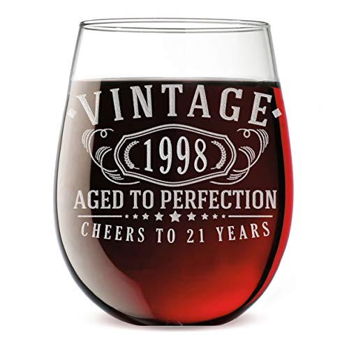 - 21st Birthday Etched 17oz Stemless Wine Glass - Vintage 1998 Aged to Perfection - 21 years old gifts