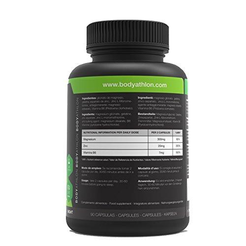 BodyAthlon ZMA - 90 cápsulas Zinc Magnesio y Vitamina B6 - Testosterone Booster: Amazon.es: Salud y cuidado personal