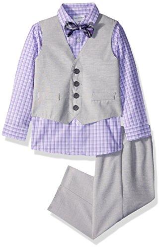 Van Heusen Baby Boys 4-Piece Patterned Dresswear Vest Set, Moon Grey slub, 18M