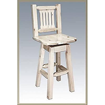 Montana Woodworks Homestead Collection Barstool with Back and Swivel, Ergonomic Wooden Seat