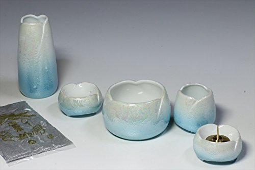 Yamako Buddhist Altar Fittings Ceramic Five Piece Set Luster Blue Color by Kami-Buddha YAMAKO