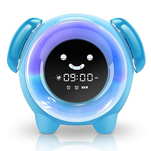 KNGUVTH Kids Alarm Clock Children Sleep Training Clock with 7 Changing Colors Teach Girls Boys Time to Wake Up, Night Light Clock with 2400mAh Rechargeable Battery Charging USB (Blue)