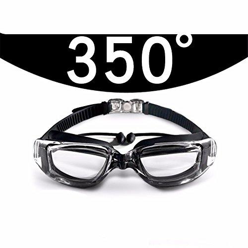 LXKMTYJ Lunettes de natation HD myopie imperméable brouillard hommes et femmes, noir 350 degrés