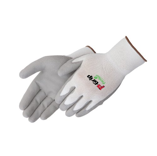 Liberty P-Grip Ultra-Thin Polyurethane Palm Coated Plain Knit Glove with 13-Gauge White Nylon/Polyester Shell, Large, Gray (Pack of 12)