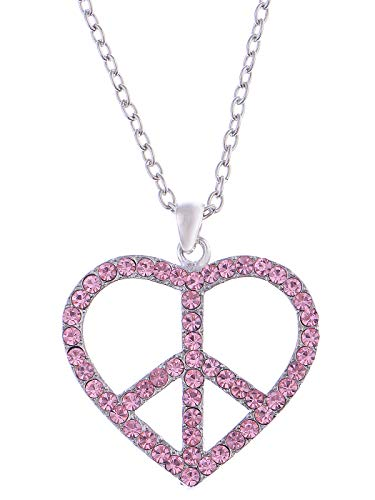 Alilang Womens Silvery Tone Pink Rhinestones Heart Peace Sign Symbol Pendant Necklace