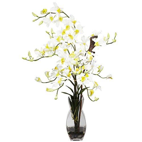 GREATHOPES Dendrobium w/Vase Silk Flower Arrangement Cream Home Decoration Flowers ()