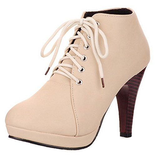 Lace Up 2 KemeKiss Boots Short Women Beige wqAASZ