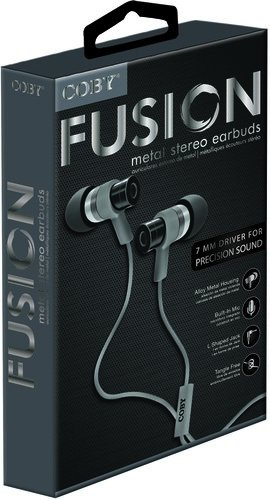Coby CVPE-06-SLV Fusion Tangle Free Cable Metal Stereo Earbuds with Mic, Silver
