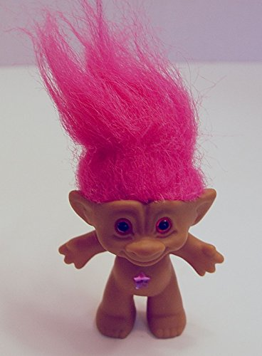 Ace Novelty Pink Haired Pink Star Jewel Treasure Troll Doll 3 Inches Tall