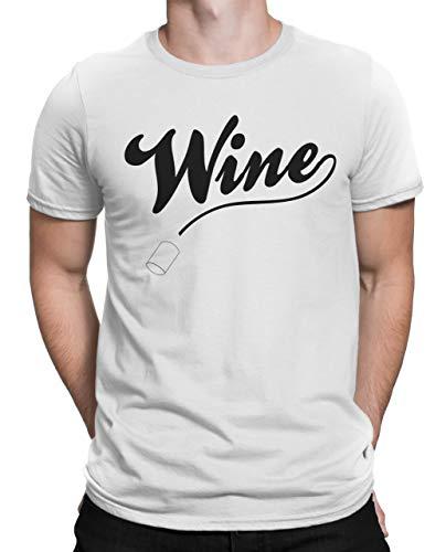 Tenacitee Men's Wine Crew Neck T-Shirt, Small, White