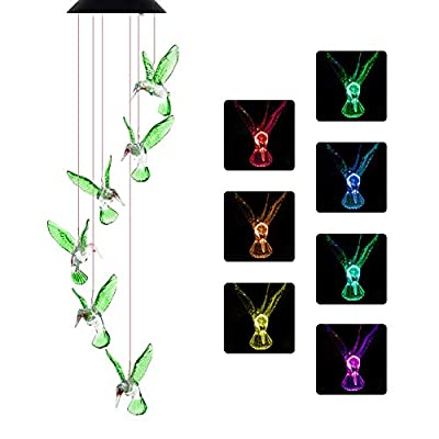 NSEN Solar String Lights, Solar Wind Chime, Outdoor Color-Changing Led Mobile for Home Yad Patio Garden