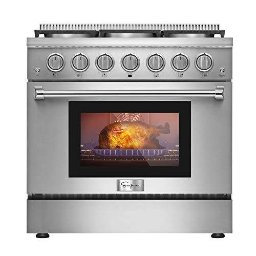 Empava 36 in. 5.2 cu. ft. Pro-Style Slide-in Single Oven Gas Range with 6 Sealed Ultra High-Low Burners-Heavy Duty…