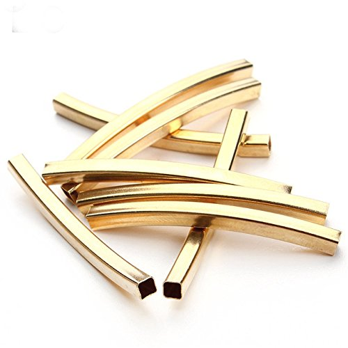 Beads Curve - 20pcs Tube Spacer Tubing Beads Moon Bent Curve Pulseras Chians Leather Cords Jewelry Making (3x25mm KC Gold)