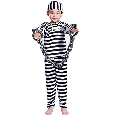 LOLANTA Child Prisoner Convict Halloween Costumes Black White Stripe Kids Fancy Dress (8-10, Boys) -