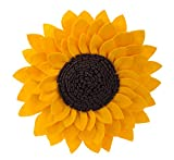 Fennco Styles Elegant 3D Sunflower Decorative Throw Pillow 13'' Round (Sunflower, Case Only)