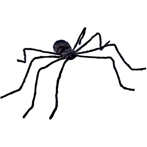 Halloween Decorations 3.1FT Scary Hairy Halloween Spider(Black)with Touch Control LED Red Flashing Eyes and Scary Sounds,Halloween Party Décor,Outdoor & Indoor]()
