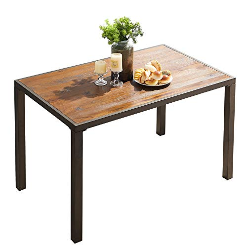 "O&K Furniture 48"" Industrial Dining Table with Wood Table Top,Wood and Metal Computer Desk, Farmhouse Style Study Writing Table for Home Office School, 1-PC"
