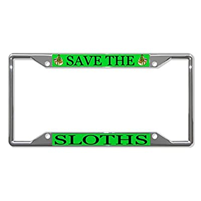 License Plate Covers Save The Sloths Animal Chrome License Plate Frame Tag Holder Four Holes - Bobbit