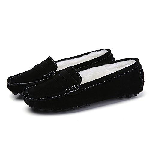 SUNROLAN Casual Damen Wildleder Driving Mokassins Slip-On Penny Loafers Bootsschuhe Wohnungen Schwarz (Kunstpelz gefüttert)