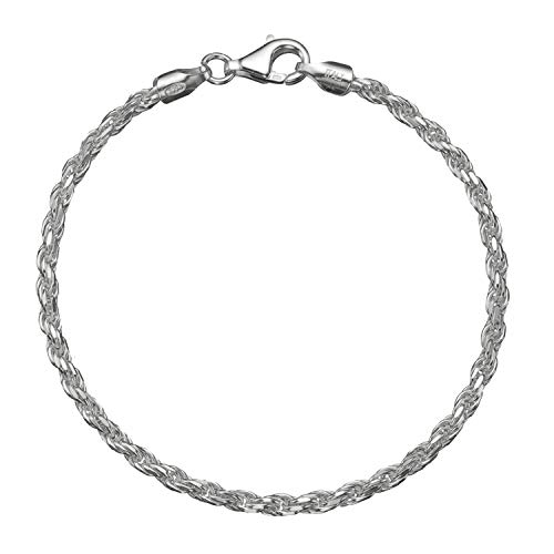 Solid 925 Sterling Silver 3mm Italian Diamond Cut Twisted Rope Chain Anklet - 9