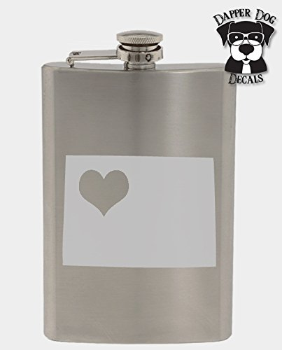 Wyoming Pride I Heart My State Art Personalized Custom Hand Etched Stainless Steel 8 oz Flask Great Gift -