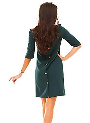 Kleider Damen Kurzes Elegant Sommerkleider 3/4 Ärmel Rundkragen mit Knöpfen Locker A-Linie Festlich Bekleidung Dresses Minikleid Uni-Farben Casual Mode Basic Dress Grün fTxd59dEv