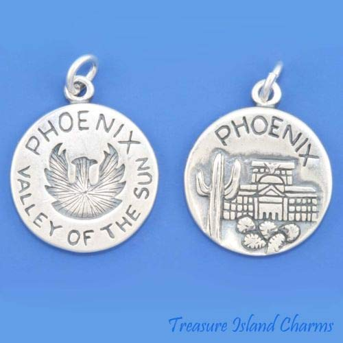Phoenix City Arizona Valley of The Sun 925 Solid Sterling Silver Charm Pendant Crafting Key Chain Bracelet Necklace Jewelry Accessories -