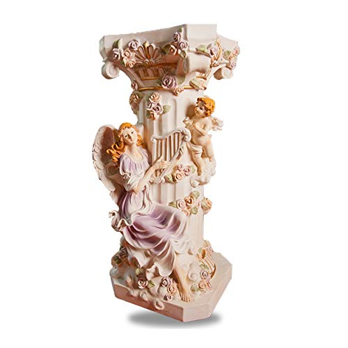 MBD European Roman Column Floor Decoration Fairy Female Angel Embossed Ornament Water Fountain Landscape Base Resin Flower Stand