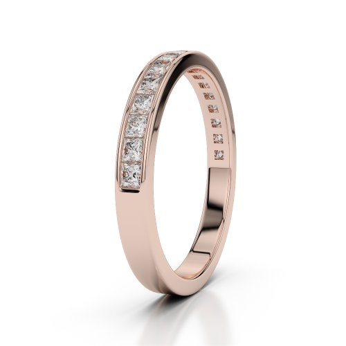 Or Rose 18carats 0,51CT G-H/VS Certifié Coupe ronde sertie de diamants Agdr-1135