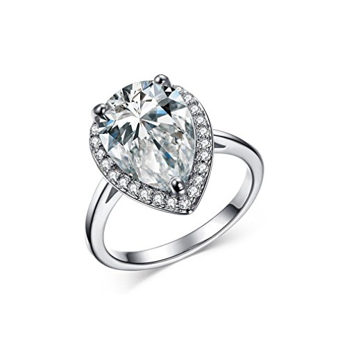 Teardrop Pear Shaped 4 Carat Cubic Zirconia Band 18k Platinum Plated Solitaire (Pear Cut Cubic Zirconia Solitaire)
