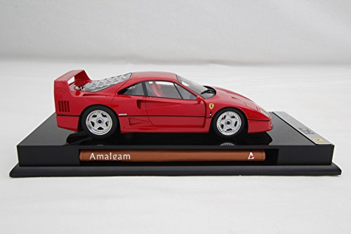 Fibre Carbon Collection - Amalgam Collection 1/18 Scale Model Ferrari F40 Carbon Fibre, Stainless Steel, Ferrari Rosso Corsa with Red interior Finishing