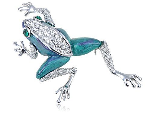 Alilang Swarovski Crystal Elements Pearlescent Blue Green Leaping Frog Toad Pin Brooch ()