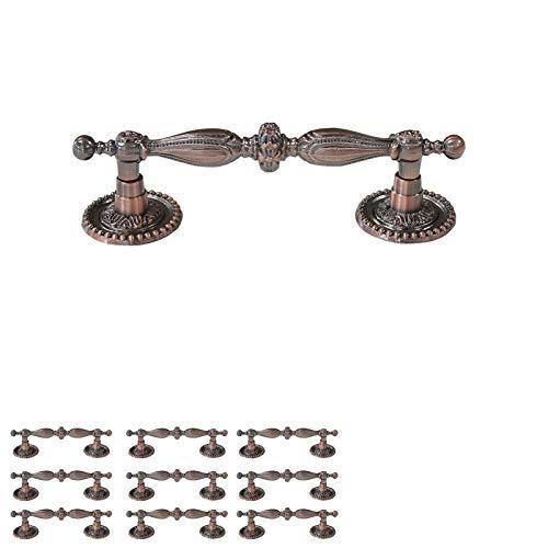 10 Pack Antique Copper Cabinet Pulls and Handles ,Vintage Bar Shape Dresser Drawer Pulls,5 inch Total Length Long Cabinet Hardware,Rustic Closet Cupboard Pull Handles