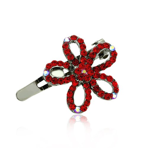 DoubleAccent Hair Jewelry Small Hair Pin Crystal Daisy Flower Magnet Barrette, Red