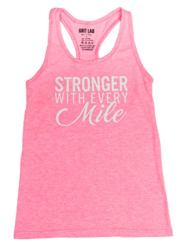 Stronger with Every Mile Women's Running Tank Top - Loose Fit Tri Blend Racerback - Large -