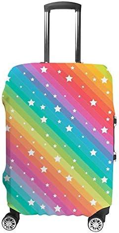 スーツケースカバー トラベルケース 荷物カバー 弾性素材 傷を防ぐ ほこりや汚れを防ぐ 個性 出張 男性と女性カラフルなラインと面白い星