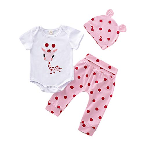 NZRVAWS Infant Pink Outfit Toddler Clothes Girl 3pcs Pink Deer Print Short Sleeve Romper Pants Set Baby Girl Hats 12-18 Months Summer