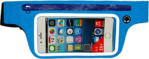 Smartphone Exercise and Running Belt for iPhone X, 6 6S 6 Plus, Samsung Galaxy S8 S7 S6 & More (Blue)