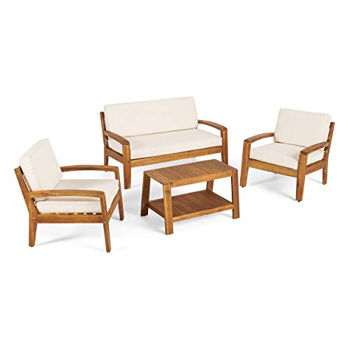 GDF Studio Parma 4 Piece Outdoor Wood Patio Furniture Chat Set w/Water Resistant Cushions (Four Piece Chat Set, Beige) (Modern Century Mid Patio Outdoor Furniture)