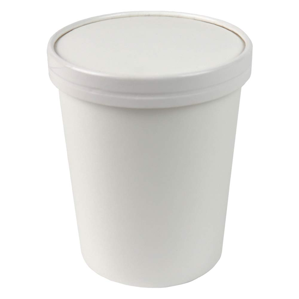 32 oz Quart Freezer Containers And Lids - Compostable Eco Friendly Paper Cups - With Non-vented Lids To Prevent Freezer Burn Perfect For Ice Cream! Fast Shipping - Frozen Dessert Supplies - 25 Count