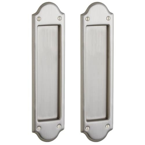 Baldwin PD016.PS Boulder Style Pocket Door Passage Trim Pair from the Estate Col, Satin - Estate Passage Nickel Door